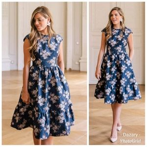 Gal Meets Glam Jenny Floral Navy Dress 6